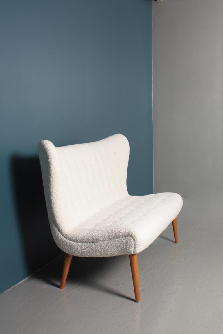 Midcentury Sofa in Boucle Designed by Elias Svedberg, 1950s Swedish Modern For Sale 5