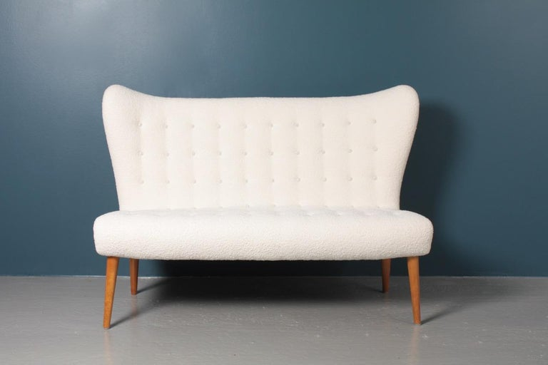 Midcentury Sofa in Boucle Designed by Elias Svedberg, 1950s Swedish Modern For Sale 7