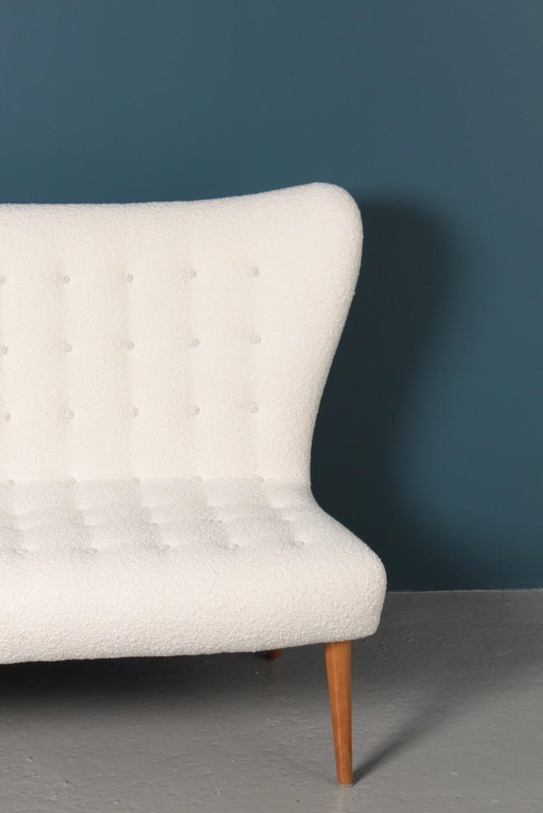 Midcentury Sofa in Boucle Designed by Elias Svedberg, 1950s Swedish Modern For Sale 8