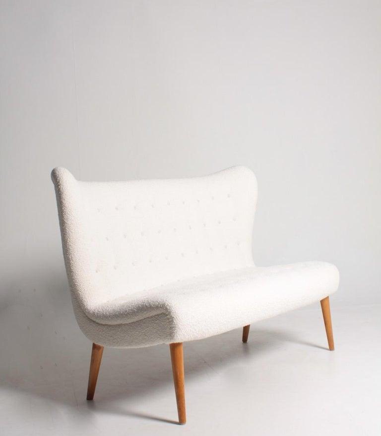 Scandinavian Modern Midcentury Sofa in Boucle Designed by Elias Svedberg, 1950s Swedish Modern For Sale