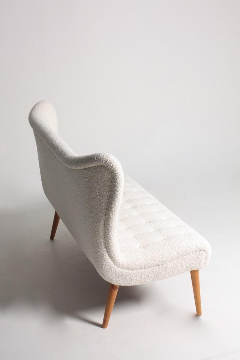 Mid-20th Century Midcentury Sofa in Boucle Designed by Elias Svedberg, 1950s Swedish Modern For Sale