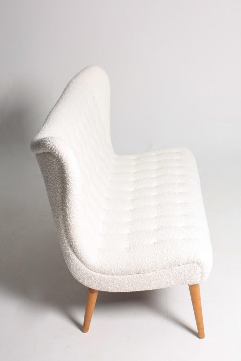 Wool Midcentury Sofa in Boucle Designed by Elias Svedberg, 1950s Swedish Modern For Sale