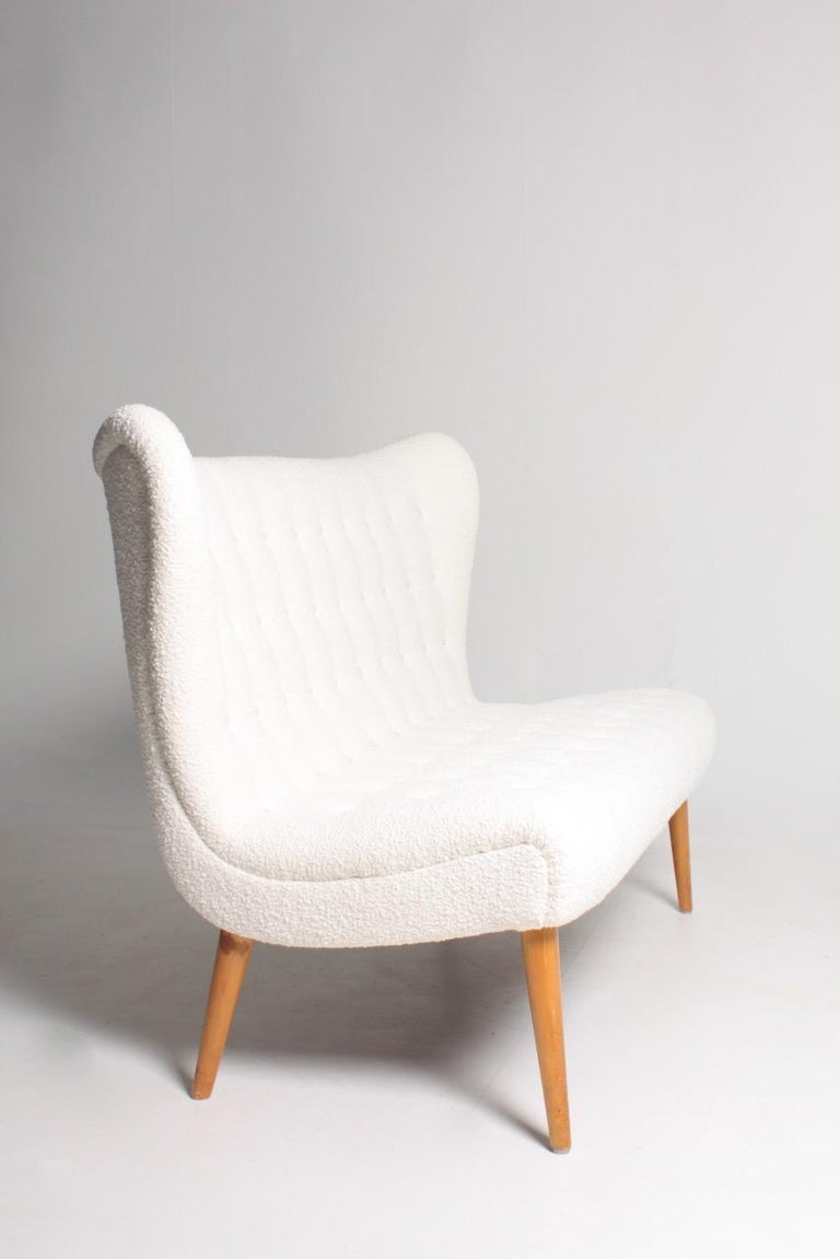 Midcentury Sofa in Boucle Designed by Elias Svedberg, 1950s Swedish Modern For Sale 1