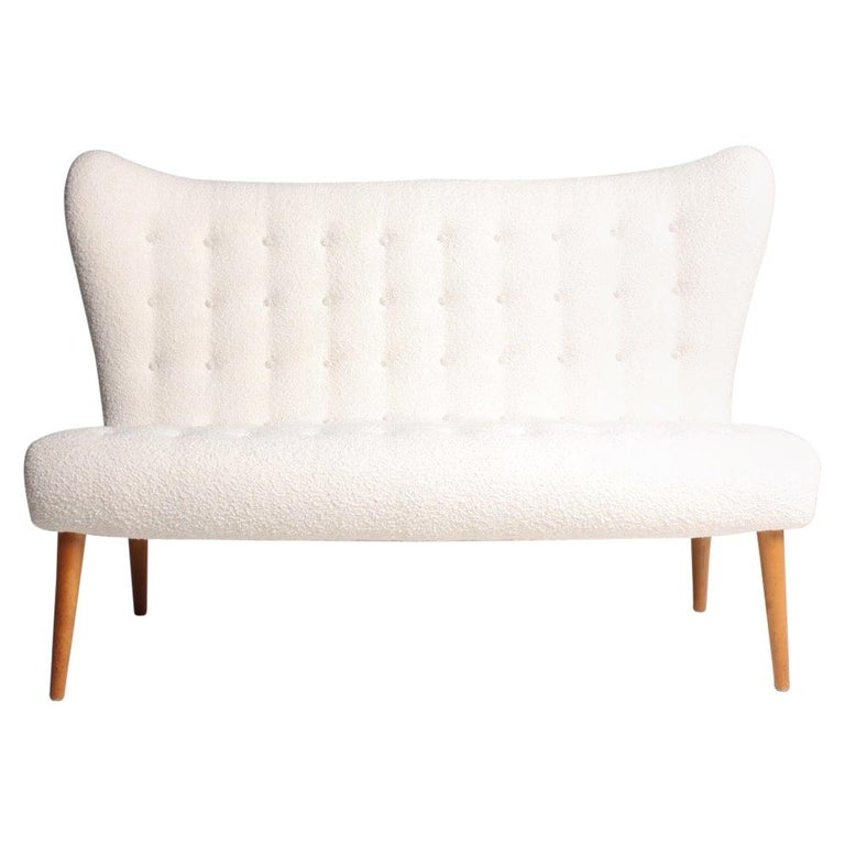 Midcentury Sofa in Boucle Designed by Elias Svedberg, 1950s Swedish Modern For Sale