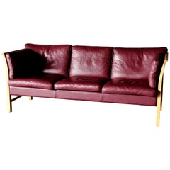 Midcentury Sofa in Burgundy Leather