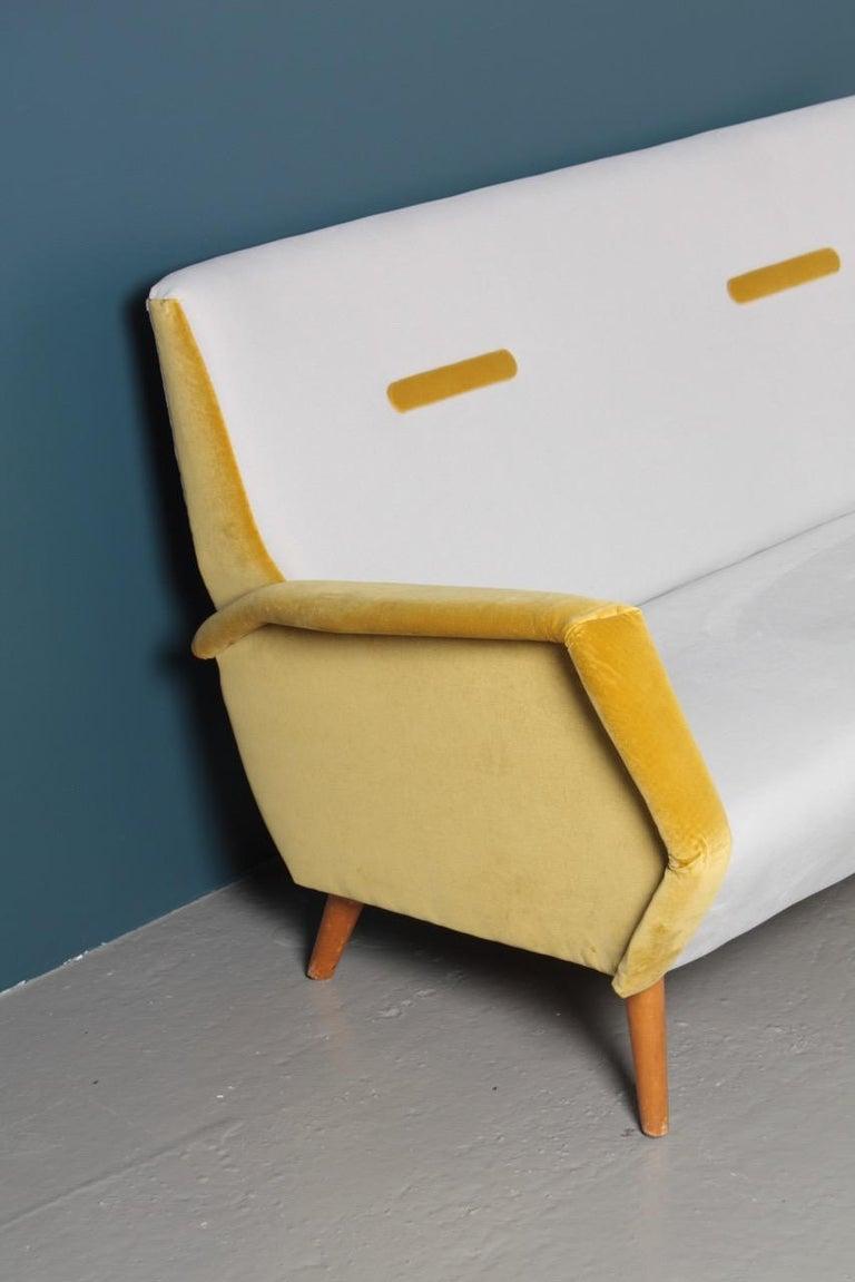 Fabric Midcentury Sofa in French Velvet by Gio Ponti, 1950s