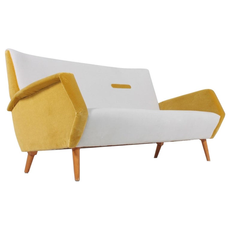 Midcentury Sofa in French Velvet by Gio Ponti, 1950s
