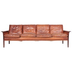 Midcentury Sofa in Patinated Leather and Solid Rosewood, Danish Design, 1950s
