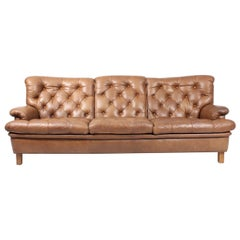 Midcentury Sofa in Patinated Leather by Arne Norell, Made in Sweden, 1960s