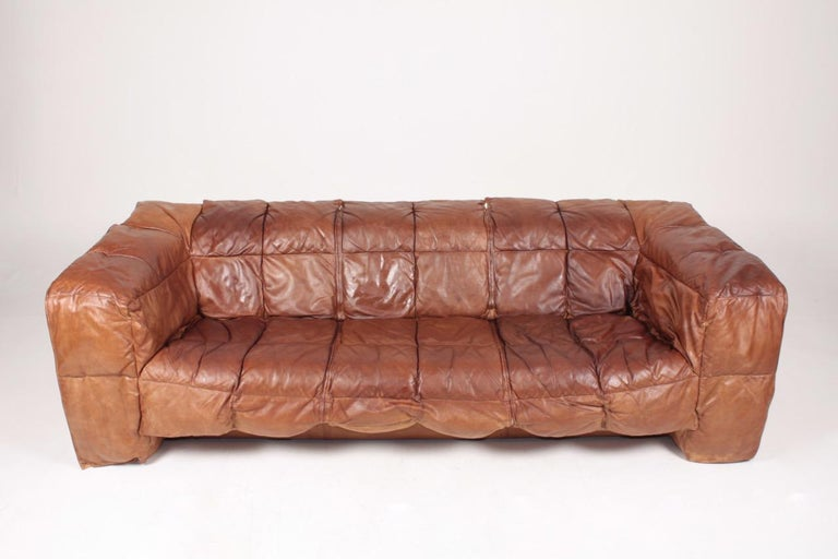 Scandinavian Modern Midcentury Sofa in Patinated Leather by Eilersen, 1980s