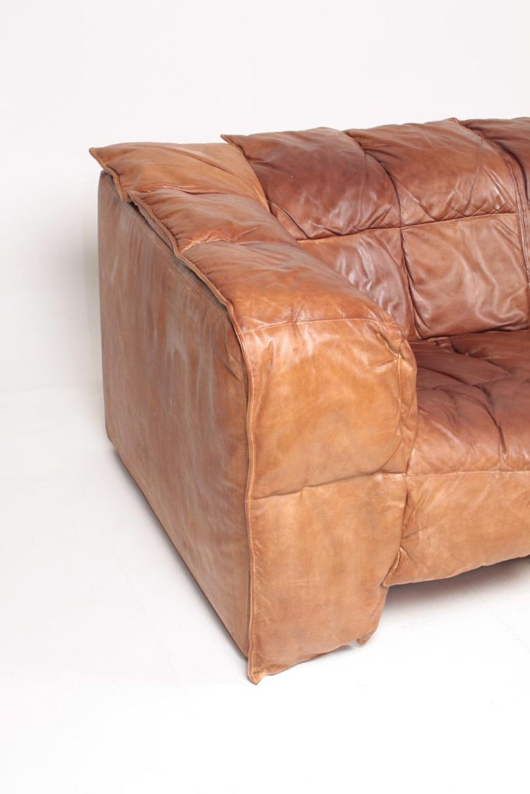 Danish Midcentury Sofa in Patinated Leather by Eilersen, 1980s