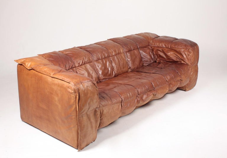 Midcentury Sofa in Patinated Leather by Eilersen, 1980s In Good Condition In Lejre, DK