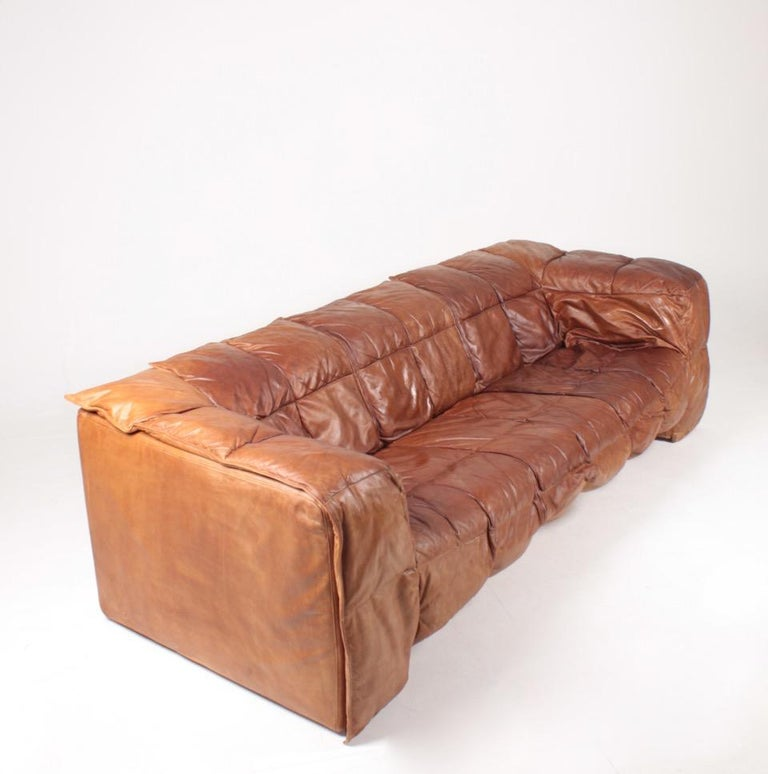 Late 20th Century Midcentury Sofa in Patinated Leather by Eilersen, 1980s