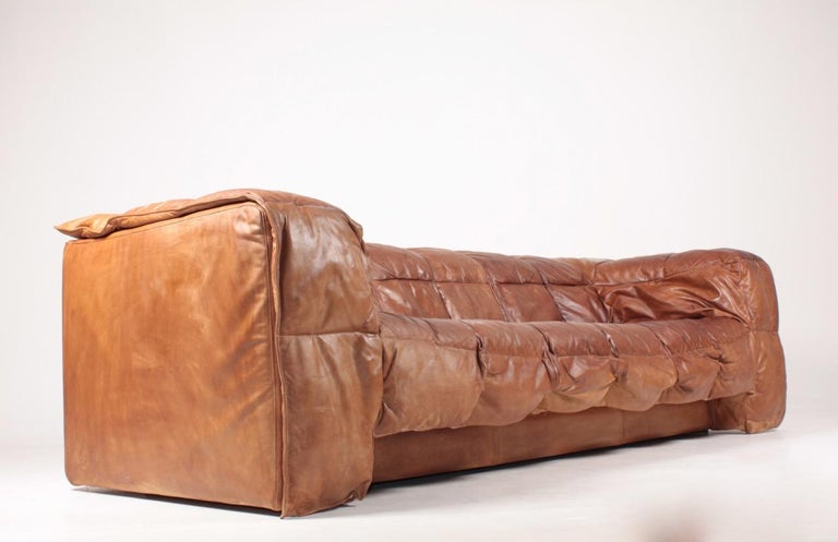 Midcentury Sofa in Patinated Leather by Eilersen, 1980s 1
