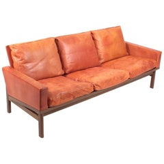 Midcentury Sofa in Patinated Leather by Erik Jørgensen, 1960s