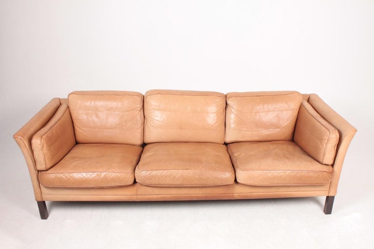 Scandinavian Modern Midcentury Sofa in Patinated Leather by Mogens Hansen, Danish Design For Sale