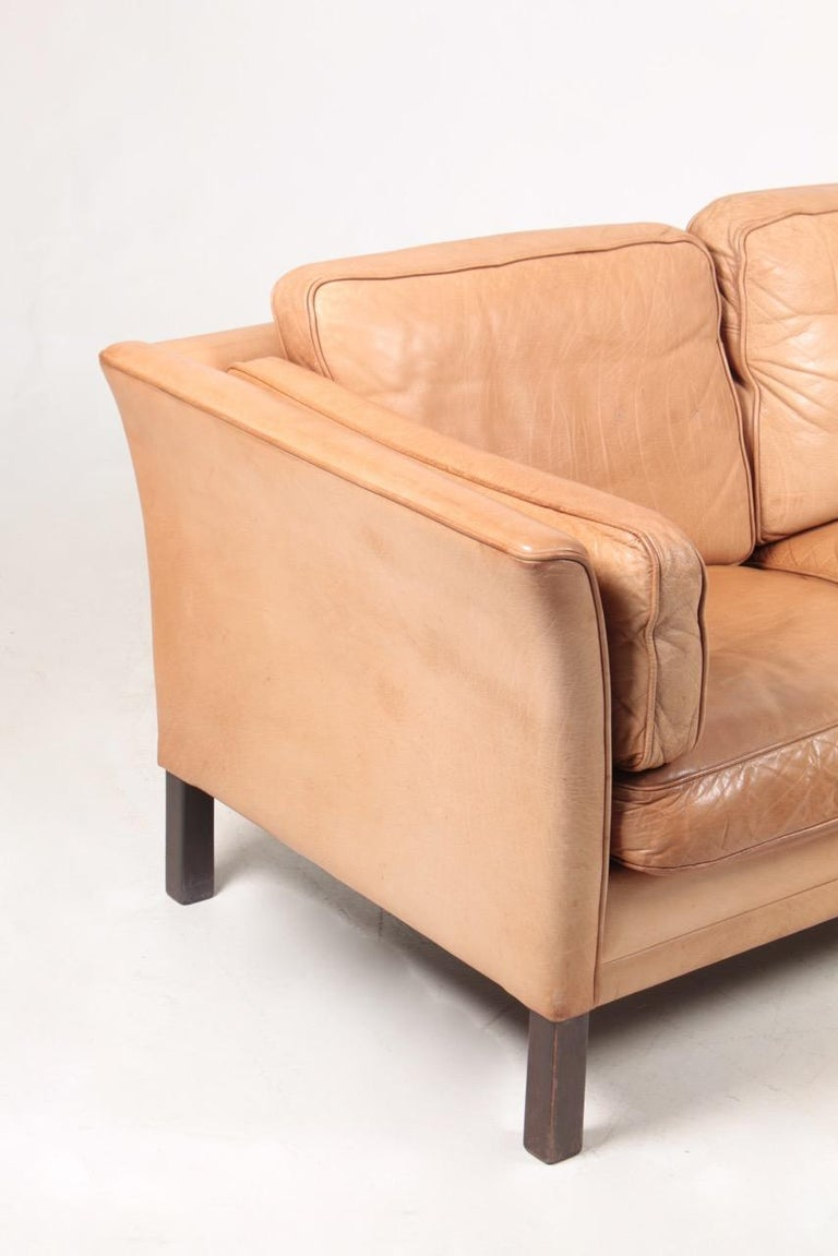 Late 20th Century Midcentury Sofa in Patinated Leather by Mogens Hansen, Danish Design For Sale