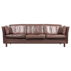 Midcentury Sofa in Patinated Leather by Mogens Hansen, Danish Design