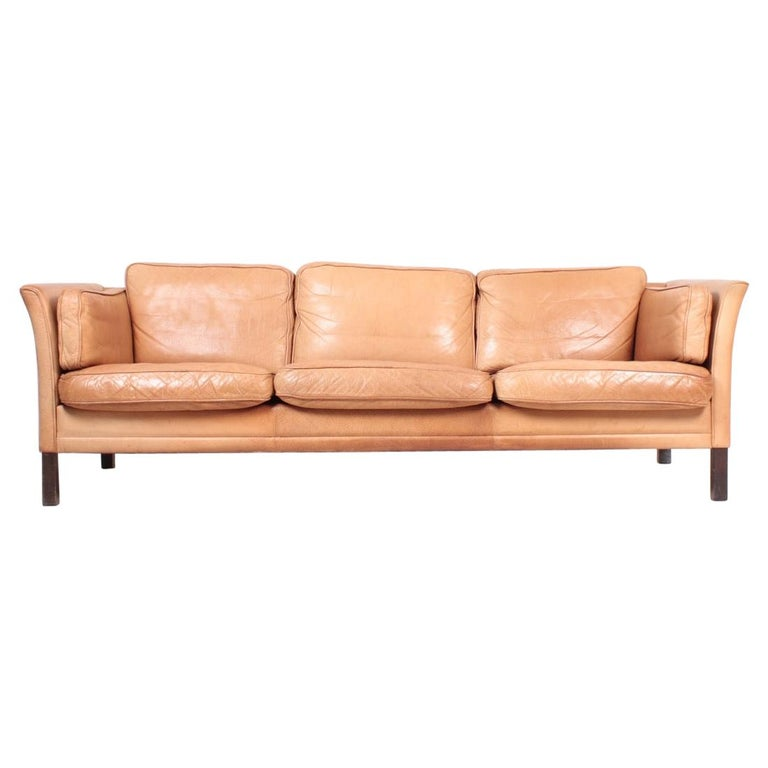 Midcentury Sofa in Patinated Leather by Mogens Hansen, Danish Design For Sale