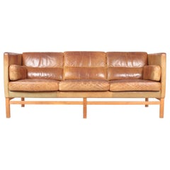 Midcentury Sofa in Patinated Leather, Danish Design, 1960s