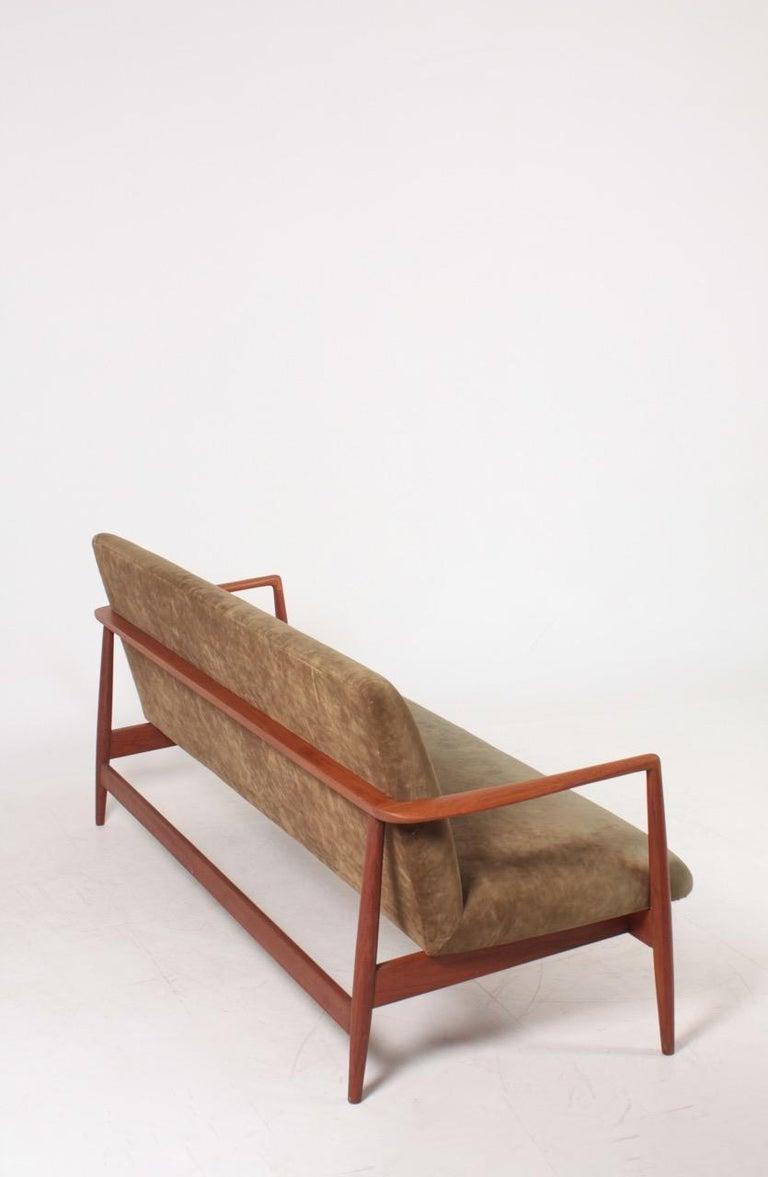 Midcentury Sofa in Teak and Velvet by C.B Hansen, 1950s For Sale 4