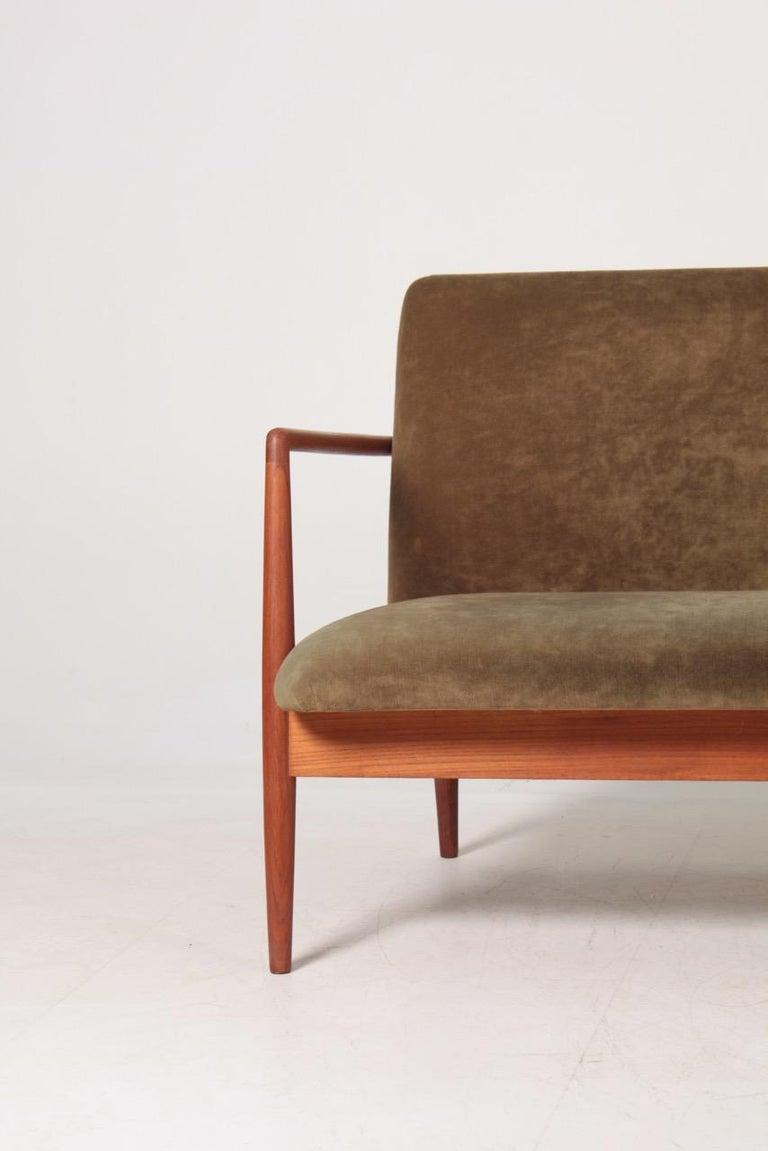 Scandinavian Modern Midcentury Sofa in Teak and Velvet by C.B Hansen, 1950s For Sale
