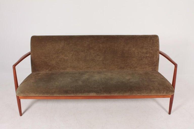Danish Midcentury Sofa in Teak and Velvet by C.B Hansen, 1950s For Sale