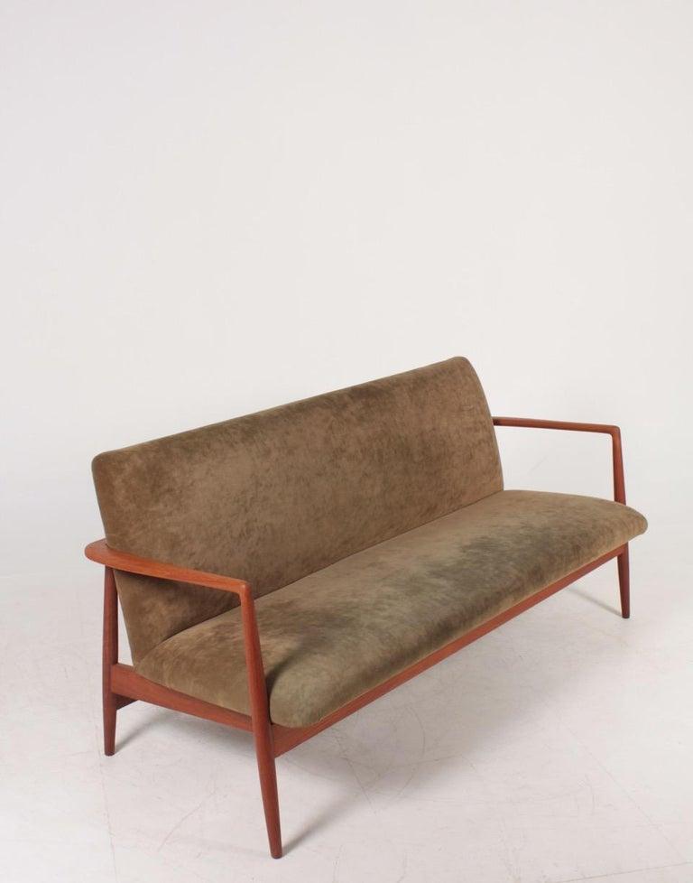 Mid-20th Century Midcentury Sofa in Teak and Velvet by C.B Hansen, 1950s For Sale
