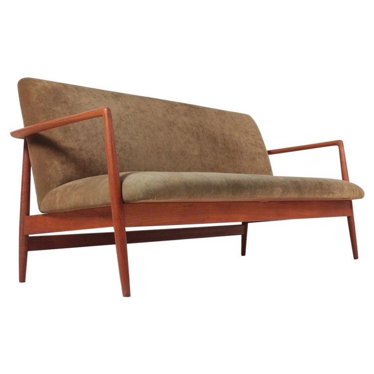 Midcentury Sofa in Teak and Velvet by C.B Hansen, 1950s For Sale