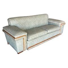 Midcentury Sofa in the Milo Baughman Style with Walnut Trim