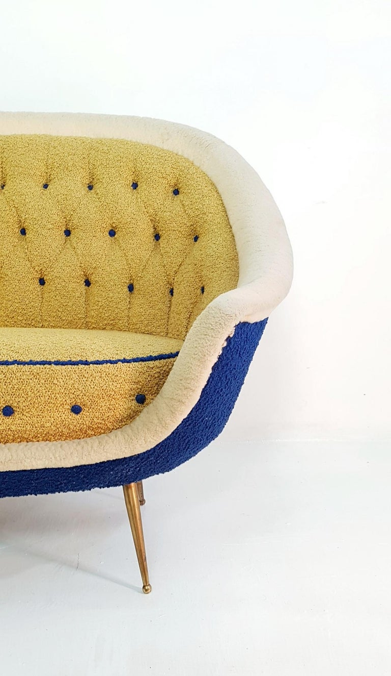 20th Century Midcentury Sofa with Brass Spider Legs by ISA Bergamo, Italy, 1959 For Sale