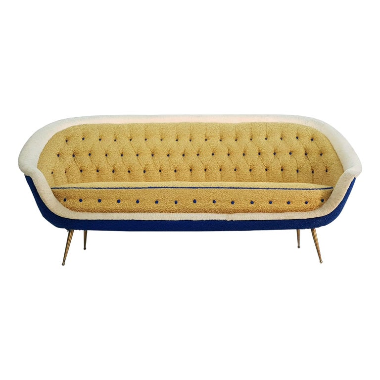 Midcentury Sofa with Brass Spider Legs by ISA Bergamo, Italy, 1959 For Sale