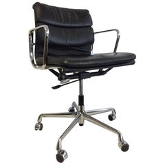 Midcentury Soft Pad Chair by Eames for Herman Miller Black Leather