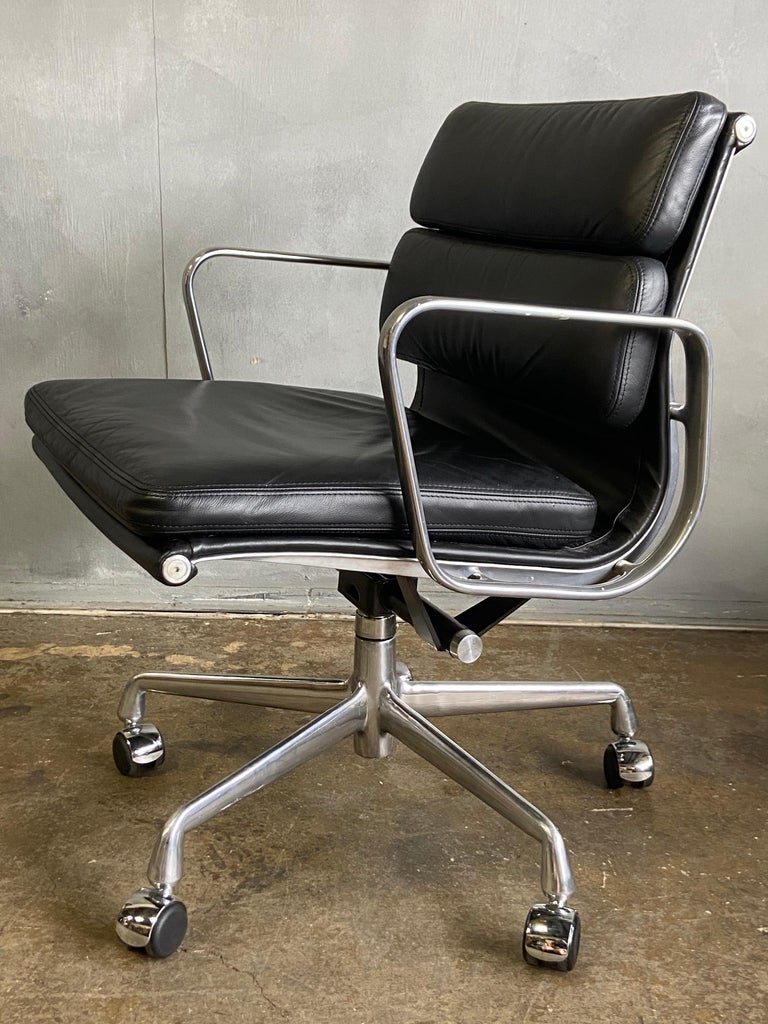 American Eames for Herman Miller Soft Pad Chairs in Black Leather For Sale
