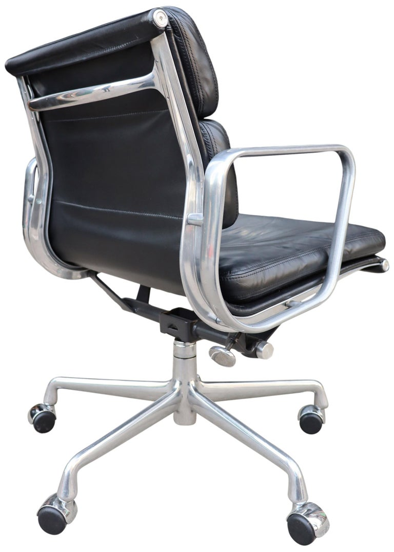 American Midcentury Soft Pad Chairs in Black Leather For Sale