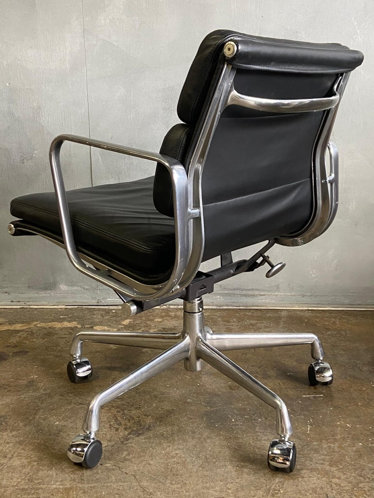 Eames for Herman Miller Soft Pad Chairs in Black Leather In Good Condition For Sale In BROOKLYN, NY