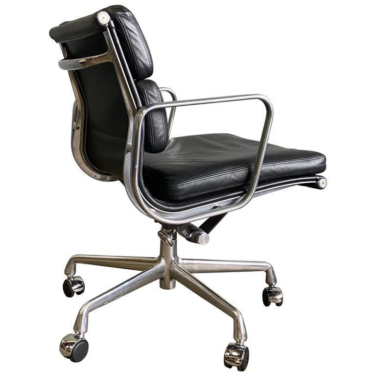 Eames for Herman Miller Soft Pad Chairs in Black Leather For Sale