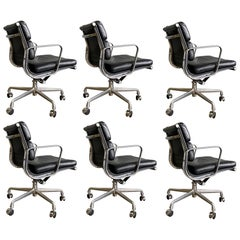 Midcentury Soft Pad Chairs in Black Leather