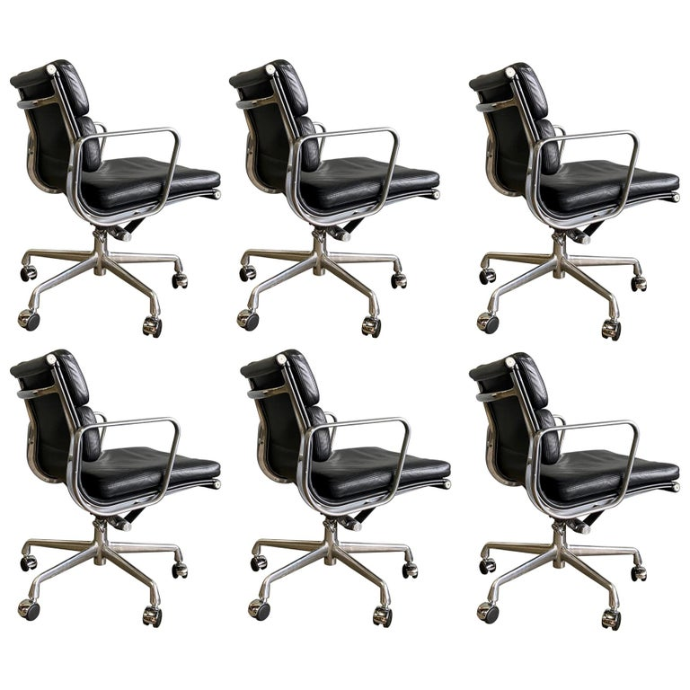 Midcentury Soft Pad Chairs in Black Leather For Sale