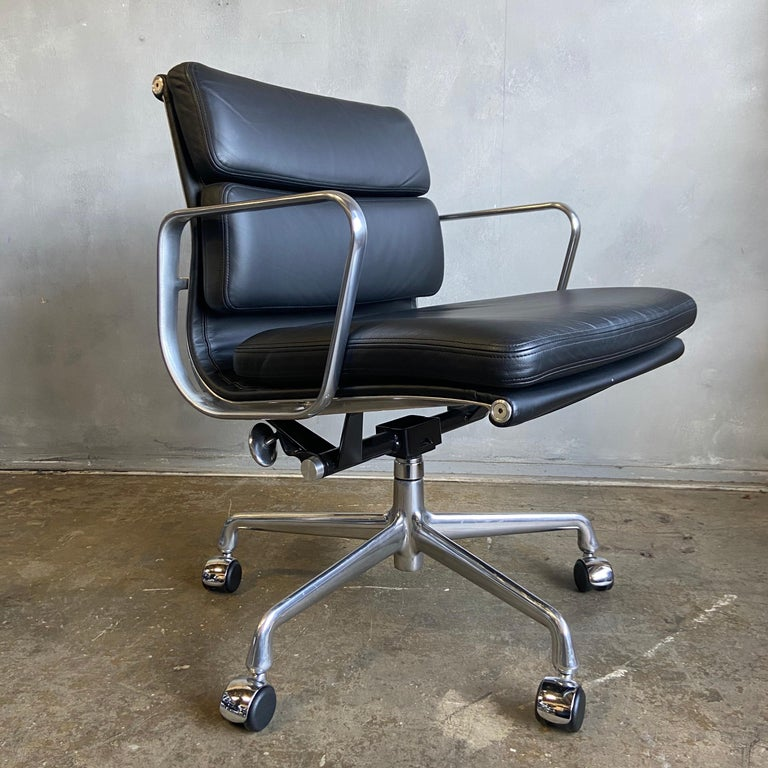 For your consideration we have up to 16 Eames for Herman Miller Soft Pad Executive chairs in black leather with low backs. These are from 2012 and never used NOS. Full tilt, height adjustment, and swivel with carpet / hardwood casters. 