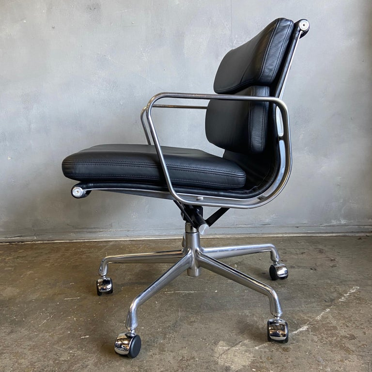 Mid-Century Modern Midcentury Herman Miller Soft Pad Chairs in Black Leather New Old Stock For Sale