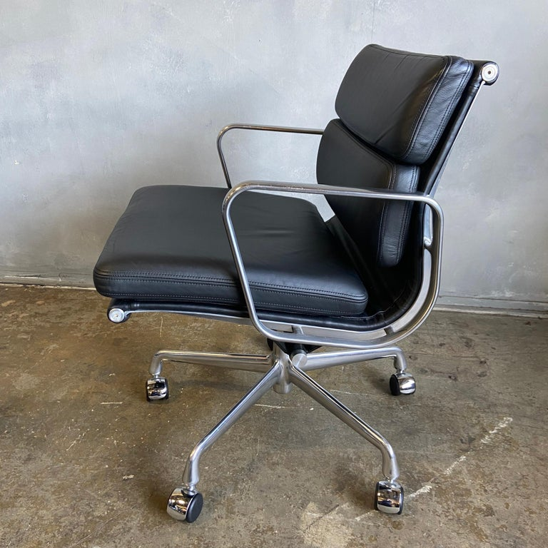 American Midcentury Herman Miller Soft Pad Chairs in Black Leather New Old Stock For Sale
