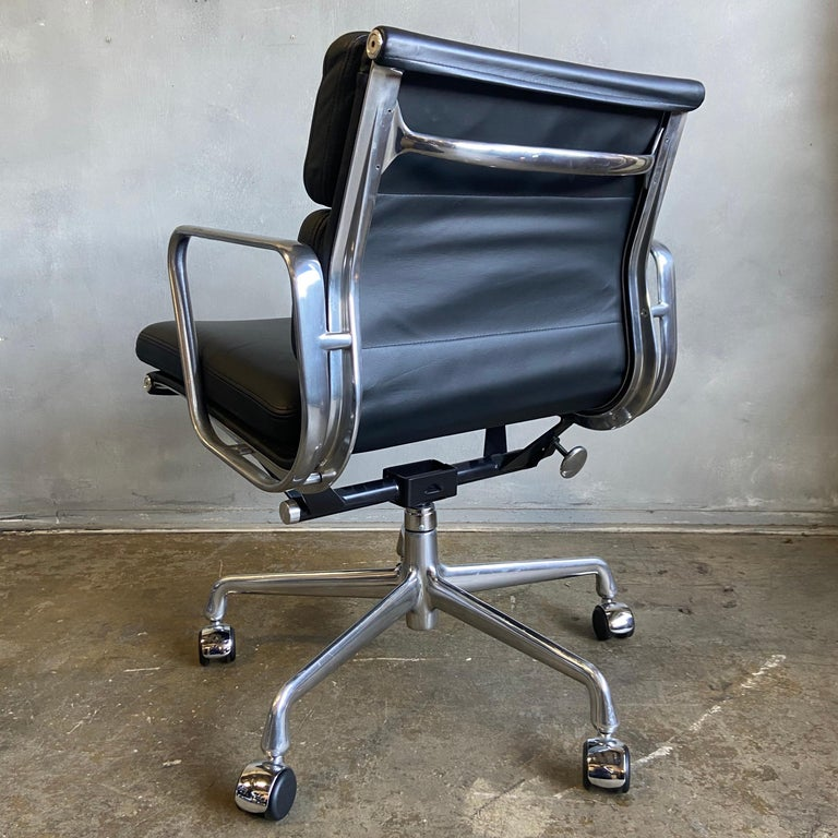 Midcentury Herman Miller Soft Pad Chairs in Black Leather New Old Stock In Good Condition For Sale In BROOKLYN, NY