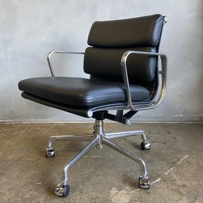 20th Century Midcentury Herman Miller Soft Pad Chairs in Black Leather New Old Stock For Sale