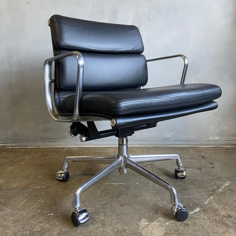 Midcentury Herman Miller Soft Pad Chairs in Black Leather New Old Stock For Sale 1