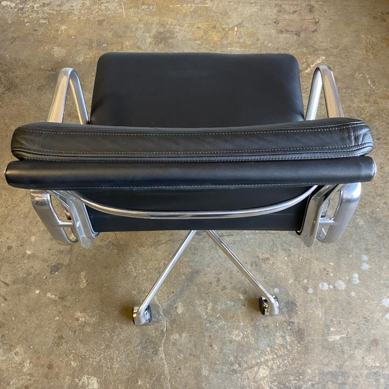 Midcentury Herman Miller Soft Pad Chairs in Black Leather New Old Stock For Sale 2