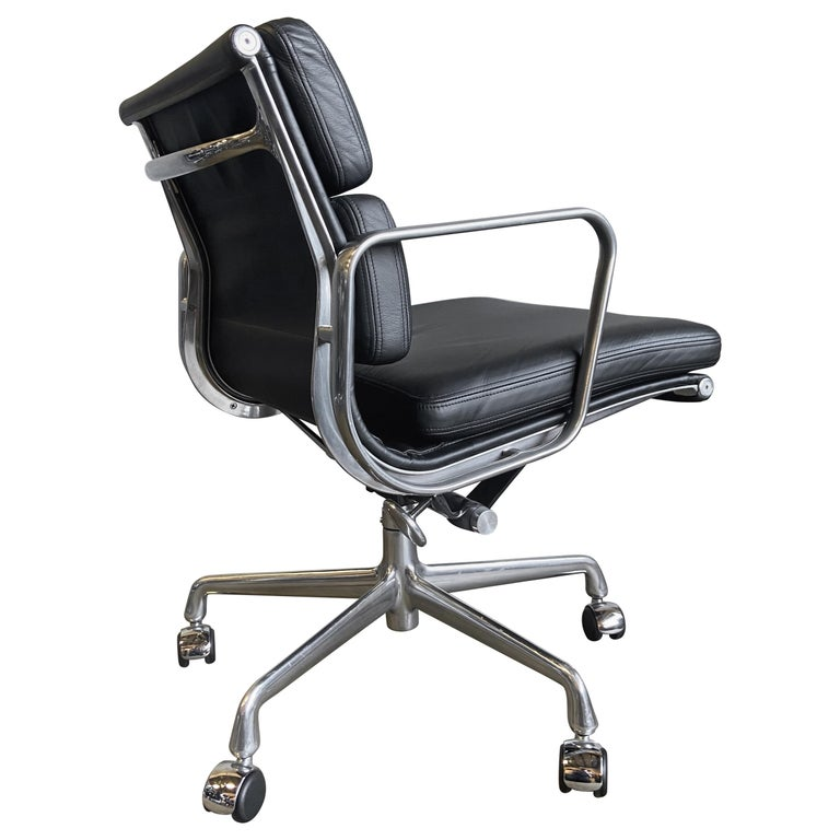 Midcentury Herman Miller Soft Pad Chairs in Black Leather New Old Stock For Sale