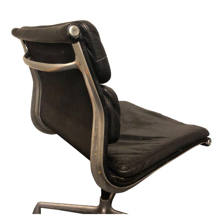 Midcentury Soft Pad Side Chairs by Eames for Herman Miller in Black Leather 3