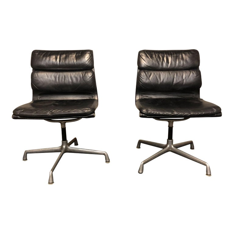 Midcentury Soft Pad Side Chairs by Eames for Herman Miller in Black Leather 5