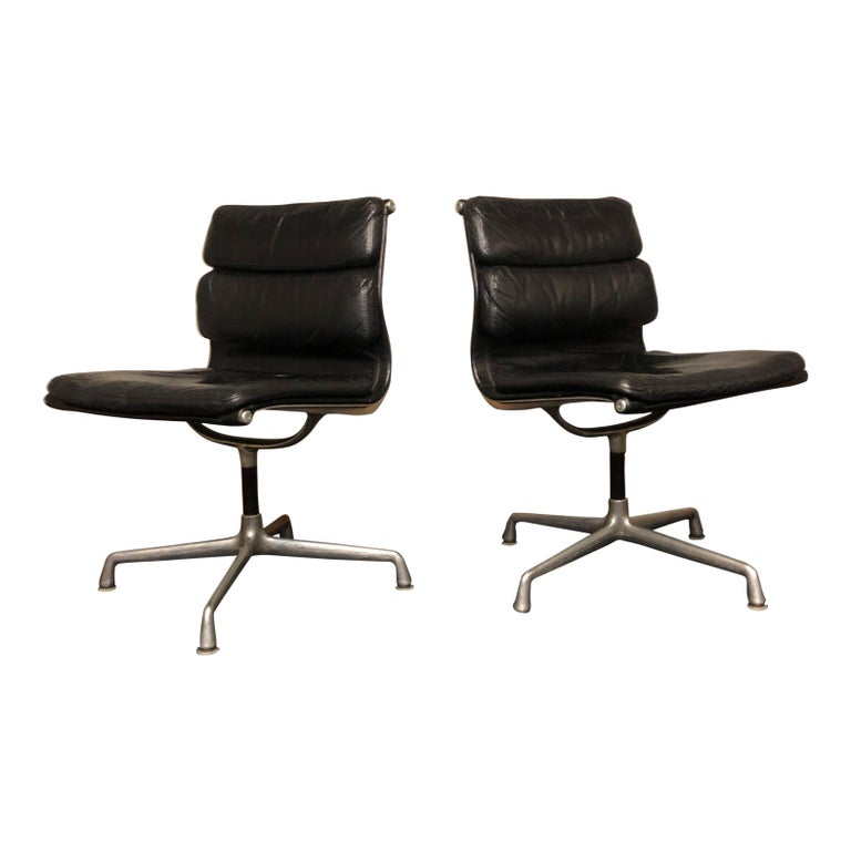 Midcentury Soft Pad Side Chairs by Eames for Herman Miller in Black Leather 6